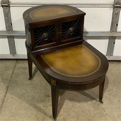 1940's Regency style mahogany leather top two Tier nightstand side table