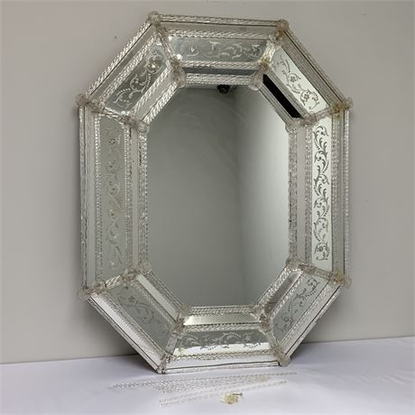 Vintage octagonal venetian mirror w/crystal bars and flower trim - murano glass