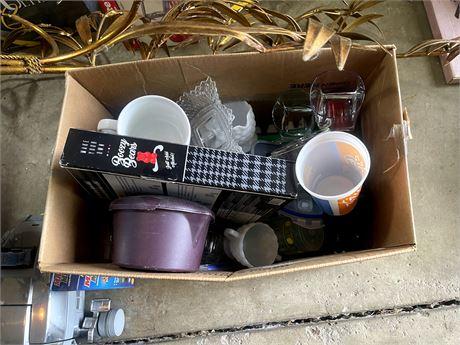 Box of Plastics Cups, Bowls, Trays, etc.