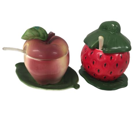 Vintage Apple & Strawberry Jelly Dishes