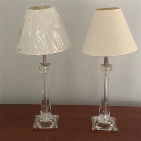 Contemporary Lucite Style Table Lamp Pair