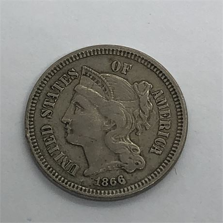 1866 Three Cent Nickel Coin