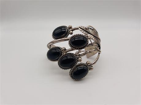 Sterling Silver 68 Gram Signed Black Gemstones Vintage Bracelet