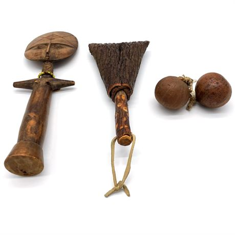 Group of African Rattles and Ashanti Doll