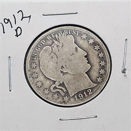 1912 D Silver Barber Dollar