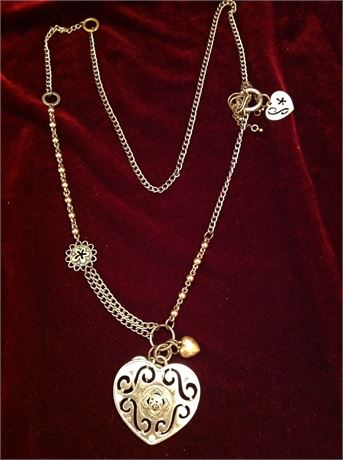 Silver Chain Necklace with Heart and Charms