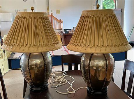 Pair of Silver Metal Table Lamps