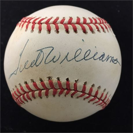 Ted Williams Autographed Baseball & Stamp