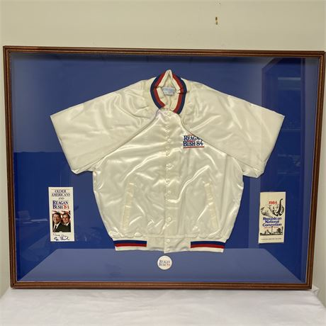 1984 Reagan/Bush Convention memorabilia - jacket, pin and pamphlets w/autographs