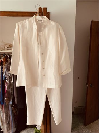 Ivory Satin Pant Suit size small