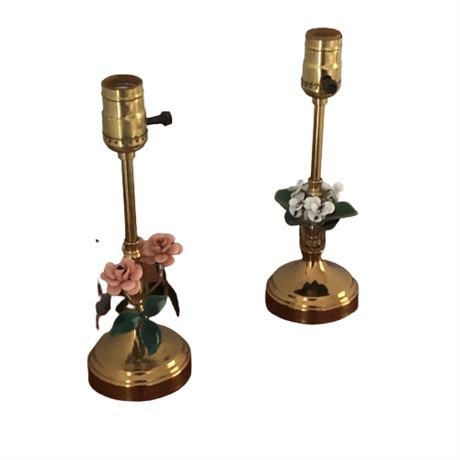 Petite Brass & Enamel Decorative Lamp Pair
