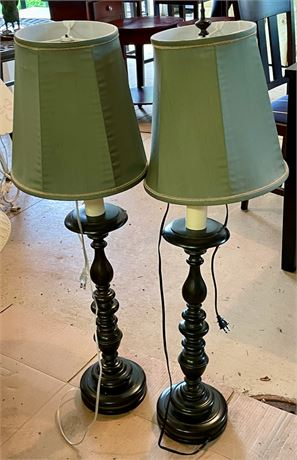 Pair of Baluster Form Metal Table Lamps
