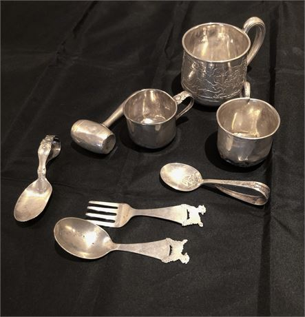 Group of Sterling Silver Baby Articles