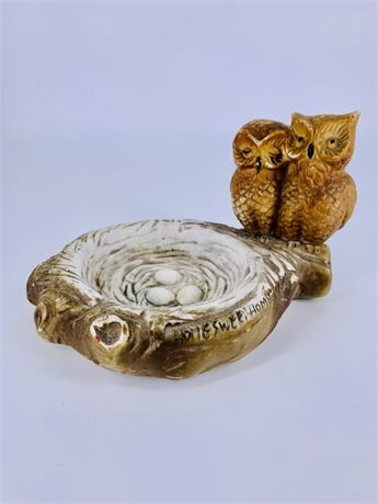 Vintage Ceramic Owls with Nest - Made in Taiwan