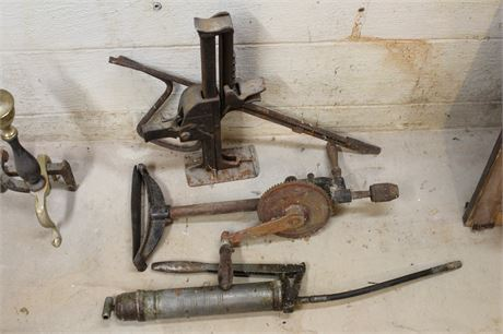 Vintage Manual Hand Crank Drill With Chest Plate, Jack, Grease Gun