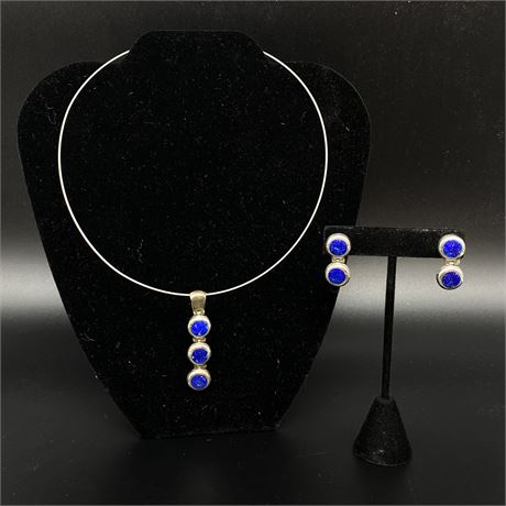 Mexican Sterling Silver Lapis Lazuli Necklace And Earrings Set with COA