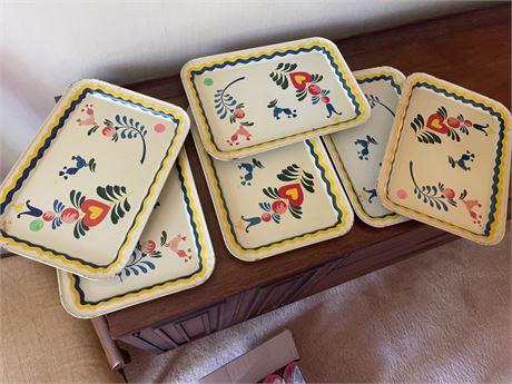 6 Pennsylvania Dutch Trays