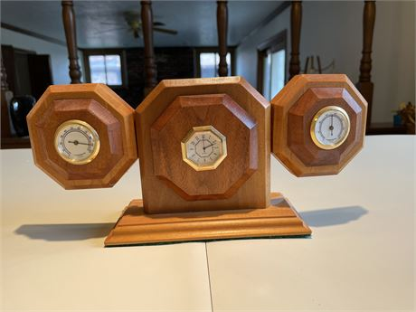 Wood Clock, Hygrometer, and Thermometer