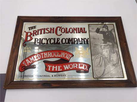 Vintage Mirrored Colonial Bicycle Sign