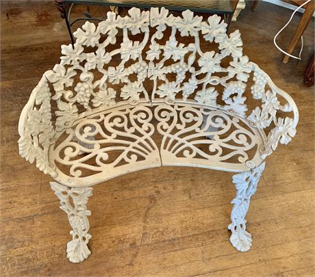 Vintage Heavy Wrought Iron Bench