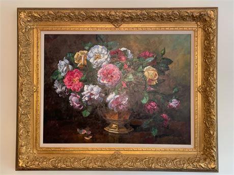 Framed Floral Still Life Painting