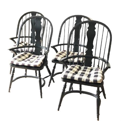 Contemporary Black Windsor Arm Chairs