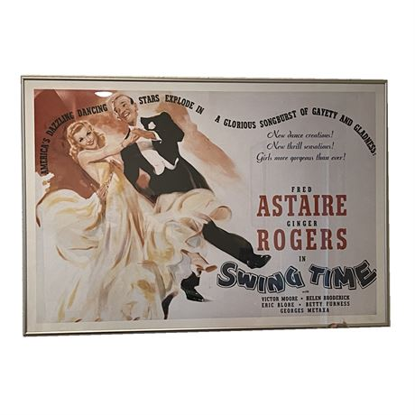 Vintage Fred Astaire and Ginger Rogers Swing Time Framed Poster