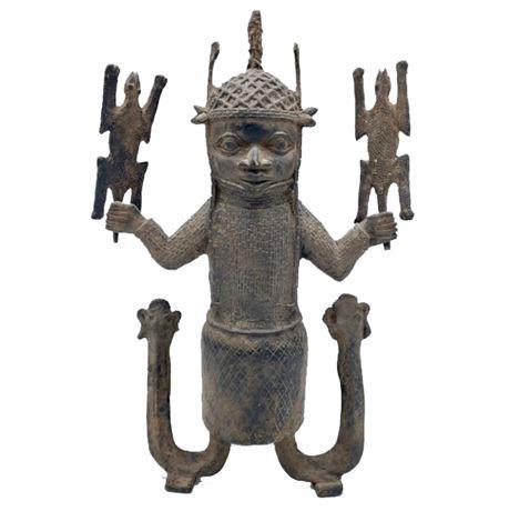 African Benin Bronze Plaque Fragment