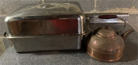 Roaster and copper tea pot