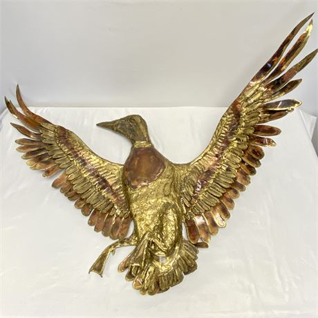 Large Mid-Century Brass and Fused Copper Flying Duck Wall Decor (3 1/2 ft wide)