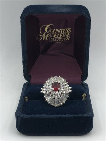 Diamond Ruby Sterling Silver Ring Size 6