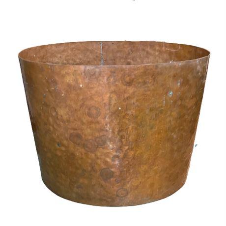 Antique Hammered Copper Kindling Barrel