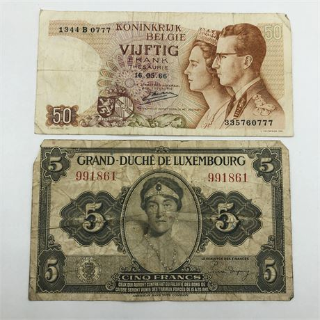 1966 Belgium 50 Francs Note & Luxembourg 5 Francs Belgian / Lux Currency Lot