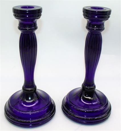 Cobalt blue glass candle holders