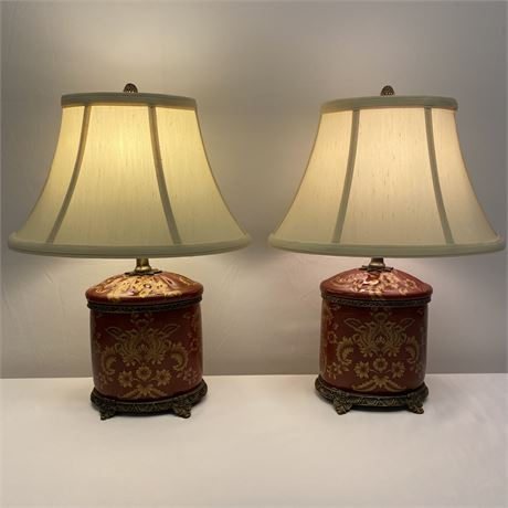 Pair of porcelain Chinese bedside lamps with shades