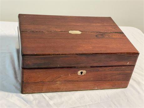 19th C. Mahogany Sewing Box with Bottles