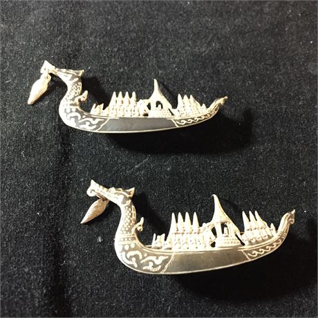 Vintage Sterling Silver Viking Ship Brooches