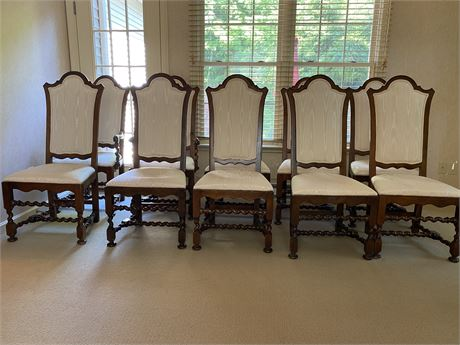Oak Dining Room Chairs Set of 8 with Cream Upholstery