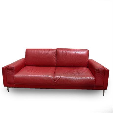 Italsofa Natuzzi Red Leather Sofa