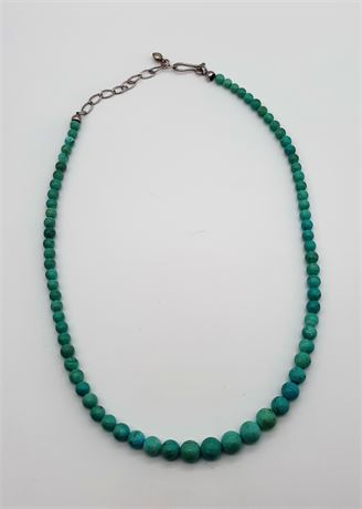 Sterling Silver 24 Gram Green Beaded Necklace