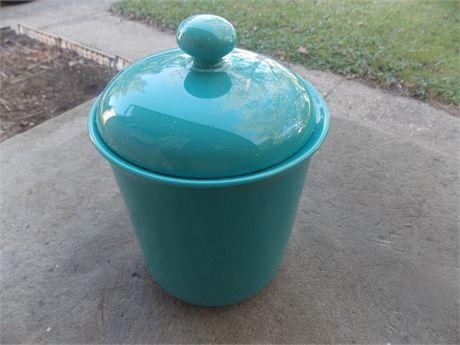 Vintage Nancy Calhoun Dark Aqua stoneware - larger canister with lid