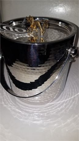 Vintage ODI Hammered Stainless Ice Bucket with lid Barware India