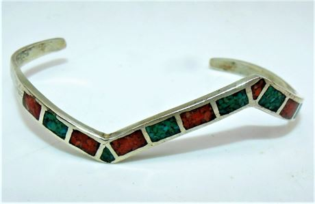Silver turquoise coral bracelet