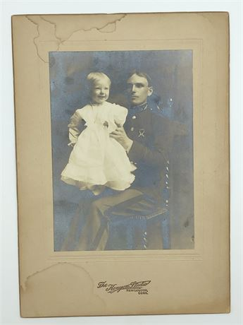 WWI Soldier in Uniform holding Toddler Photo