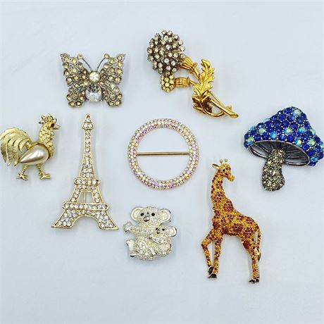Collection of Rhinestone Brooches