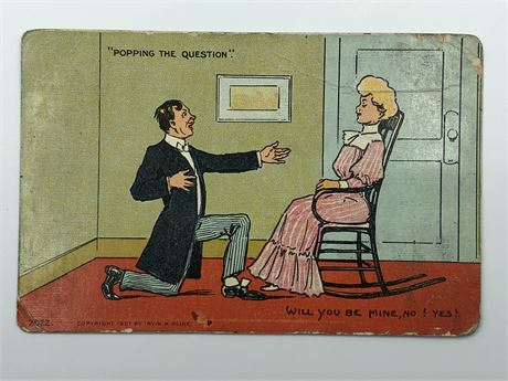 Antique 1908 Postcard and Stamp Illustrated Man and Woman Postcard