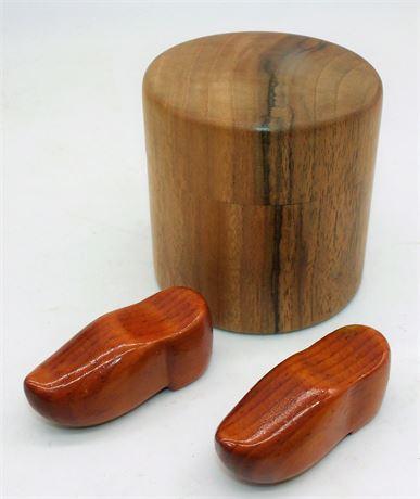 Walnut wood box & shoes