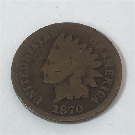 Key Date 1870 Indian Head Cent Coin