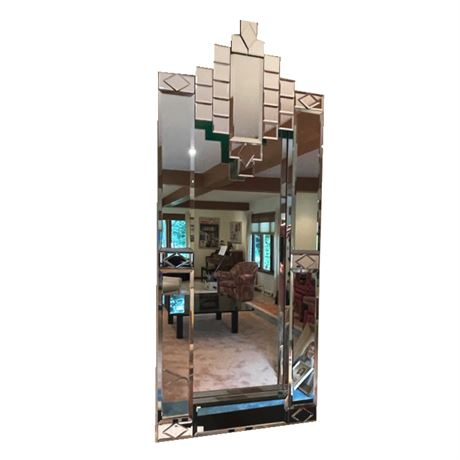 Vintage Art Deco Styled Wall Accent Mirror