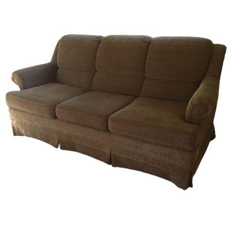 Gold/Brown Chenille Sofa